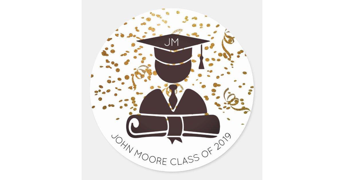 Graduate Silhouette Diploma Party Confetti Classic Round ...