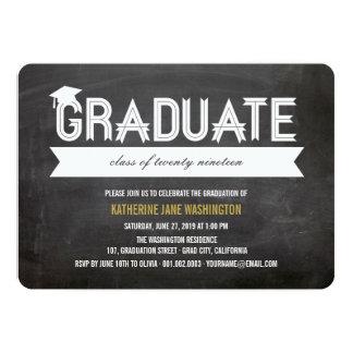 Graduate Simple Ribbon Chalkboard Party Invite