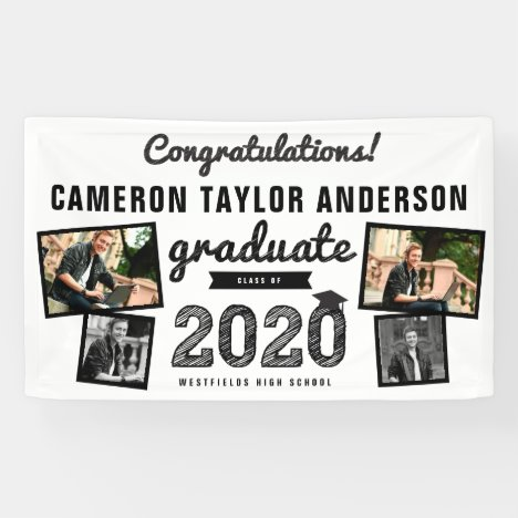 Graduate Sketch 2020 Four Photo Collage Graduation Banner
