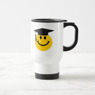 Graduate smiley face 15 oz stainless steel travel mug
