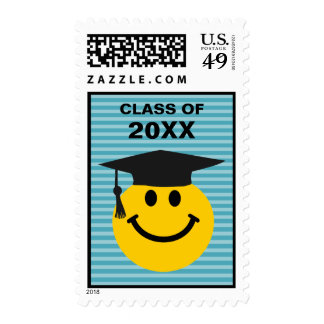 Graduate smiley face postage stamp