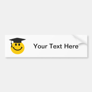 Graduate Smiley face with graduation hat Car Bumper Sticker