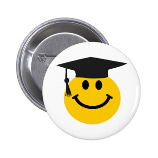 Graduate Smiley face with graduation hat 2 Inch Round Button