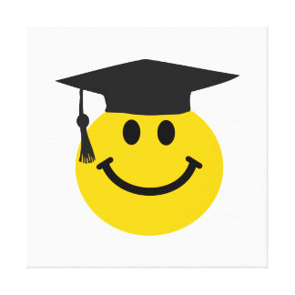 Graduate Smiley face with graduation hat Canvas Print