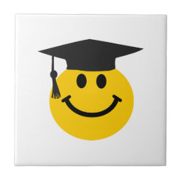 Graduate Smiley face with graduation hat Ceramic Tile