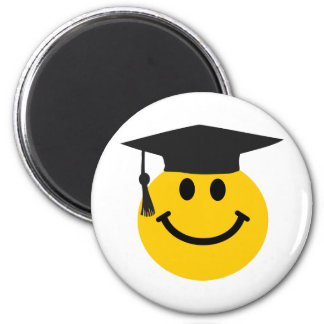 Graduate Smiley face with graduation hat Refrigerator Magnets