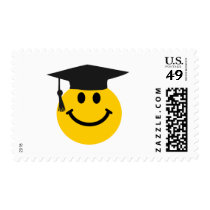 Graduate Smiley face with graduation hat Postage