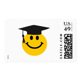 Graduate Smiley face with graduation hat Postage Stamp