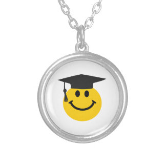Graduate Smiley face with graduation hat Silver Plated Necklace
