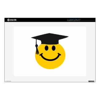 Graduate Smiley face with graduation hat Decal For Laptop
