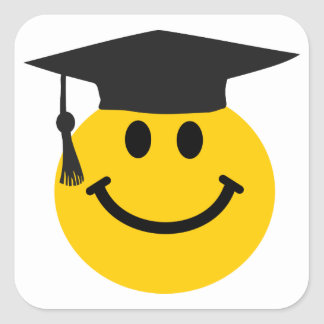 Graduate Smiley face with graduation hat Square Sticker
