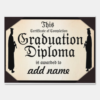 Graduate Standing Tall Diploma Lawn Sign