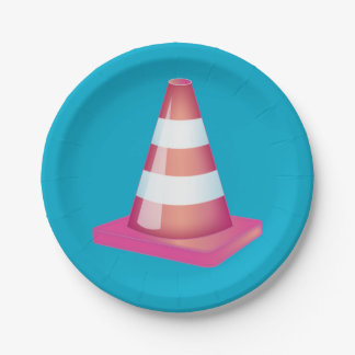 Graduate Student Prank Striped Traffic Cone Party Paper Plate