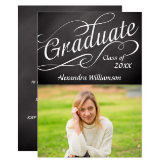 Graduate Swirly Script Chalkboard Photo Graduation Card