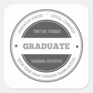 Graduate Tibetan Terrier Training Institute Black Square Sticker