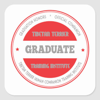 Graduate Tibetan Terrier Training Institute Red Square Sticker