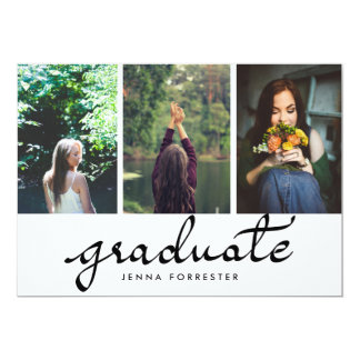Graduate Typography Three Photos Graduation Party Card