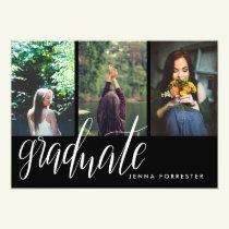 Graduate Typography Three Photos Graduation Party Invitation