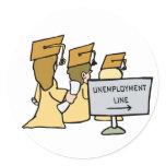 Graduate Unemployment Humor Classic Round Sticker