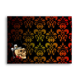 Graduated red,  yellow damask and gambling skull envelope
