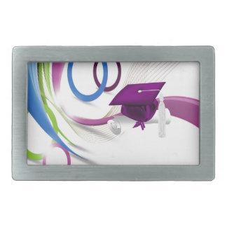 Graduates, Congratulations, Colorful Waves & Circl Rectangular Belt Buckle