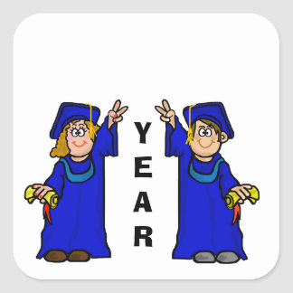 """Graduates with """"V"""" Sign Name Tags to Customize Square Sticker"""