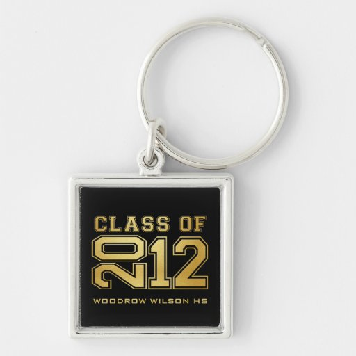 Graduating Class of 2012 Key-Chain (gold) Silver-Colored Square Keychain