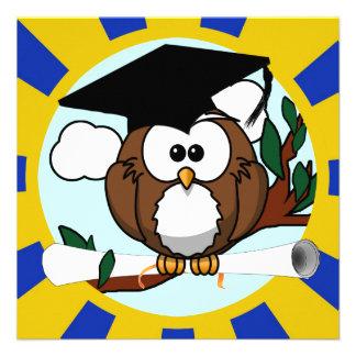 Graduating Owl w Blue Gold School Colors Custom Invitations