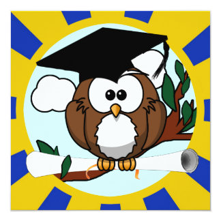 Graduating Owl w/  Blue & Gold School Colors Custom Invitations