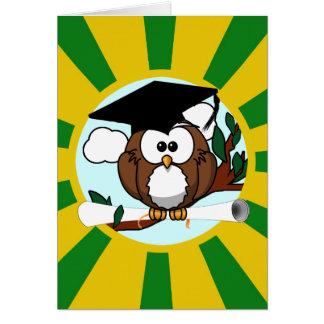 Graduating Owl w/  Green & Gold School Colors Greeting Card