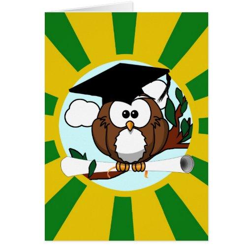 Graduating Owl w/  Green & Gold School Colors Card