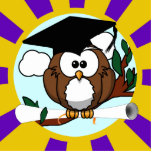 Graduating Owl w/  Purple & Gold School Colors Photo Cut Outs