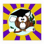 Graduating Owl w/  Purple & Gold School Colors Photo Cutouts