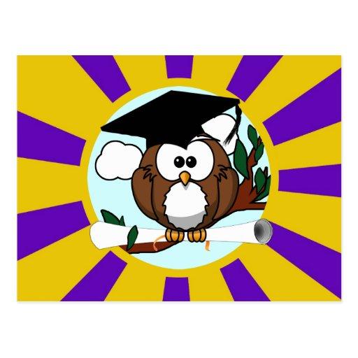 Graduating Owl w/  Purple & Gold School Colors Post Cards