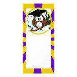 Graduating Owl w/  Purple & Gold School Colors Full Color Rack Card