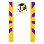 Graduating Owl w/  Purple & Gold School Colors Personalized Stationery