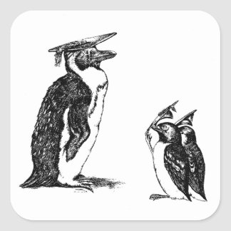 Graduating Penguins Tip Hats to Don Square Sticker
