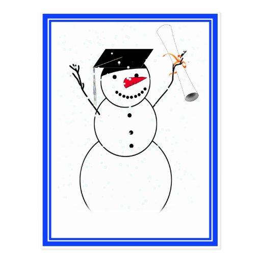 Graduating Snowman for the Little Graduate Post Card