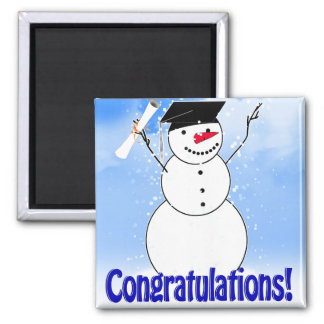Graduating Snowman With Diploma 2 Inch Square Magnet