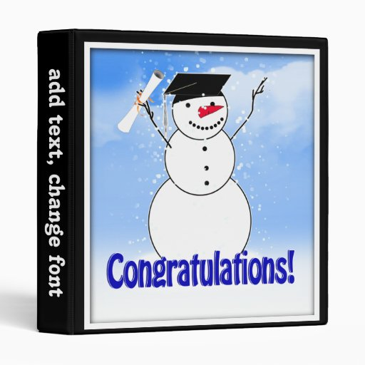 Graduating Snowman With Diploma Vinyl Binders