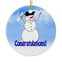 Graduating Snowman With Diploma Ceramic Ornament