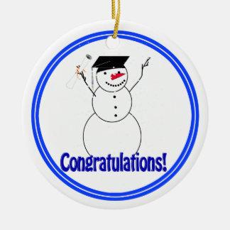 Graduating Snowmen - Congratulations! Christmas Tree Ornament