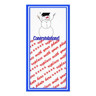 Graduating Snowmen - Congratulations! Customized Photo Card