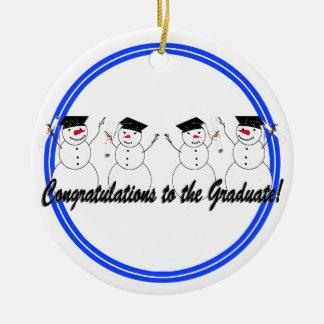 Graduating Snowmen In a Row Christmas Ornament