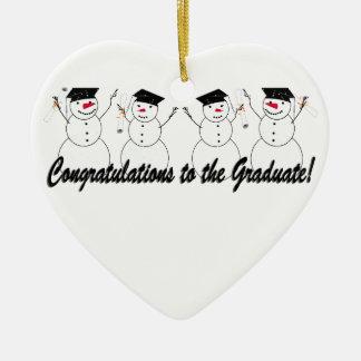 Graduating Snowmen In a Row Christmas Ornaments