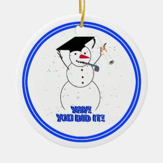 Graduating Snowmen - YAY! You did it! Ceramic Ornament