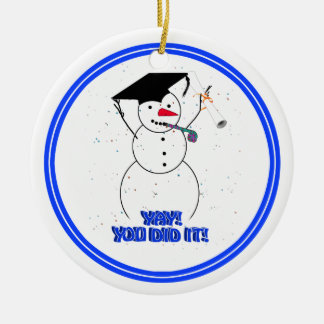 Graduating Snowmen - YAY! You did it! Double-Sided Ceramic Round Christmas Ornament