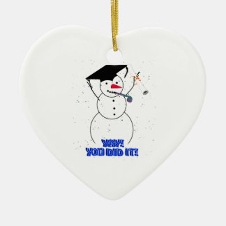 Graduating Snowmen - YAY! You did it! Double-Sided Heart Ceramic Christmas Ornament