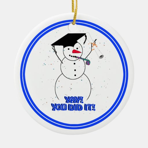 Graduating Snowmen - YAY! You did it! Ornaments
