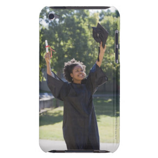 Graduating student with diploma in raised hand iPod touch cover